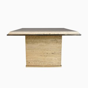 Brass & Travertine Coffee Table from Fedam, 1970s