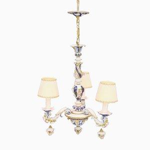 Lámpara de araña de porcelana, años 60