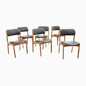 Dining Room Chairs in Teak and Leather by Erik Buch for Oddense, 1960s, Set of 6