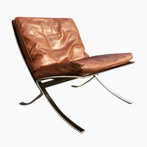 Tango Chair in Steel and Leather by Steen Østergaard for Steel Line, 1970s