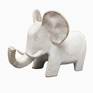 Ceramic White Elephant by Bruno Gambone, 1970s