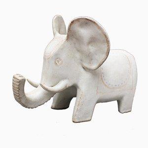 Elefante in ceramica bianca di Bruno Gambone, anni '70