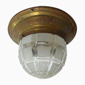 Lampada da soffitto Art Deco in ottone, anni '30