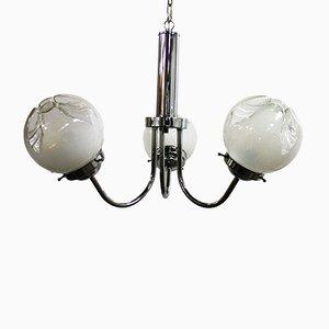 Lámpara de araña Mid-Century en forma de globo de cristal de Murano, años 70