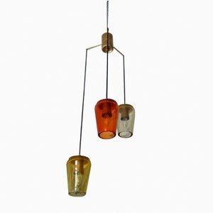 Lámpara de araña de vidrio Sommerso de Flavio Poli para Seguso, años 60