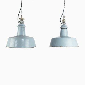 Lámparas colgantes industriales vintage esmaltadas en azul. Juego de 2