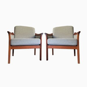 Mid-Century Danish Teak & Wool Easy Chairs, 1960s, Set of 2