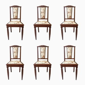 Art Nouveau French Chairs, 1920s, Set of 6