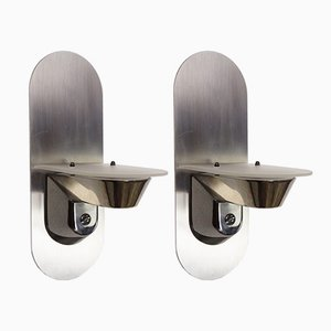 Stainless Steel & Glass Wall Sconces, 1980s, Set of 2