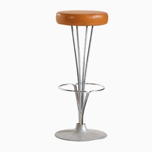 Leather Bar Stool by Piet Hein for Fritz Hansen, 1960s
