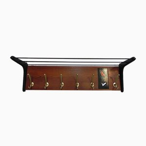 Vintage Wooden Wall Coat Rack with 6 Aluminum Hooks