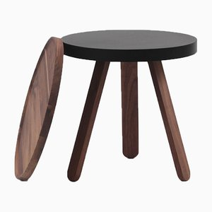 Small Walnut-Black Batea Tray Table by Daniel García Sánchez for WOODENDOT