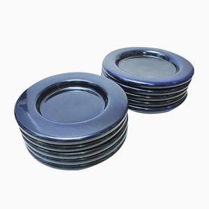 Mid-Century Deep Enameled Blue Ceramic Plates from Gabbianelli Sezione, Set of 10