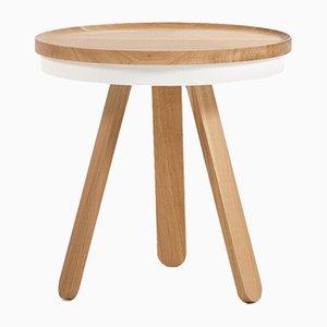 Tavolino con vassoio Batea bianco e in legno di quercia di Daniel García Sánchez per WOODENDOT