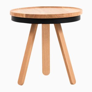 Small Oak-Black Batea Tray Table by Daniel García Sánchez for WOODENDOT