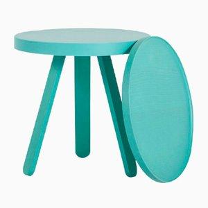 Tavolino con vassoio turchese menta RAL 6033 di Daniel García Sánchez per WOODENDOT