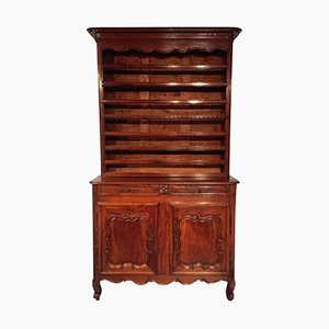Antique French Louis XV Style Walnut Sideboard with Plate Rack, 1780s