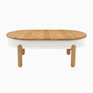 Large Oak-White Batea Coffee Table by Daniel García Sánchez for WOODENDOT