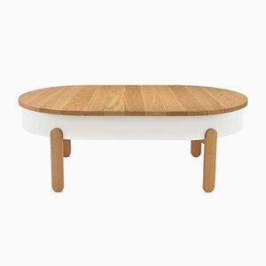 Tavolino grande con vassoio Batea bianco e in legno di quercia di Daniel García Sánchez per WOODENDOT