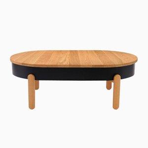 Tavolino grande con vassoio Batea nero e in legno di quercia di Daniel García Sánchez per WOODENDOT