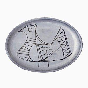 Oiseau Plate by Jacques Pouchain for l'Atelier Dieulefit, 1950s