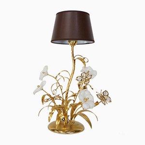 Lámpara vintage de latón y cristal de Murano