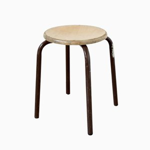 Vintage Industrial Stool with Brown Frame, 1960s