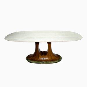 Mesa de comedor italiana Mid-Century de mármol, años 60
