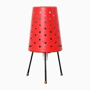 Lámpara finlandesa Mid-Century en rojo con pantalla perforada