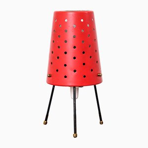 Mid-Century Finnish Red Table Lamp with Perforated Shade