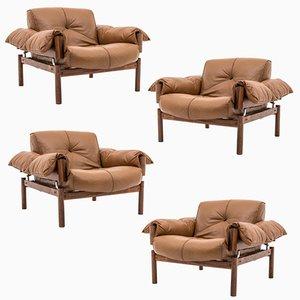 Brasilianische Mid-Century Sessel aus Leder & Palisander von Percival Lafér, 4er Set