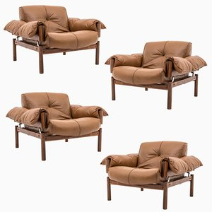 Mid-Century Brasilian Leather & Rosewood Lounge Chairs by Percival Lafér, Set of 4