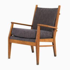 French Velvet & Beech Lounge Chair, 1950s
