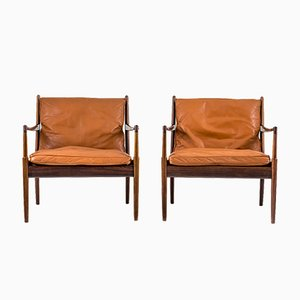Mid-Century Black Leather Samsö Chairs by Ib Kofod-Larsen for OPE Möbler, Set of 2