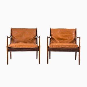 Schwarze Mid-Century Leder Samsö Chairs von Ib Kofod-Larsen für OPE Möbler, 2er Set