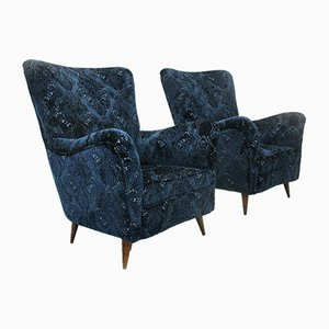 Mid-Century Italian Blue Lounge Chairs, 1950s, Set of 2