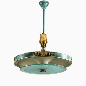 Lámpara colgante sueca vintage de vidrio y latón patinado