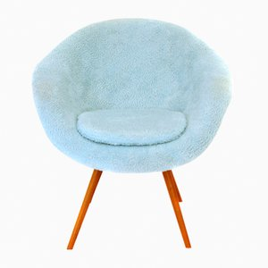 Polish Faux Fur Armchair, 1960s