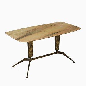 Table Basse avec Laiton et Marbre Traités, Italie, 1960s