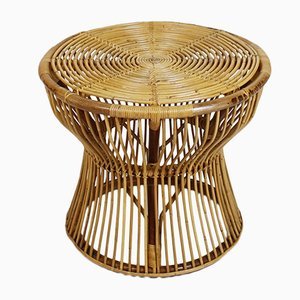 Italian Mid-Century Bamboo & Rattan Side Table by Franco Albini for Vittorio Bonacina