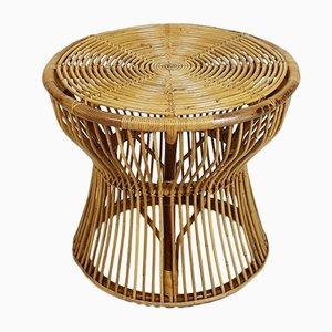 Italienischer Mid-Century Bambus & Rattan Beistelltisch von Franco Albini für Vittorio Bonacina