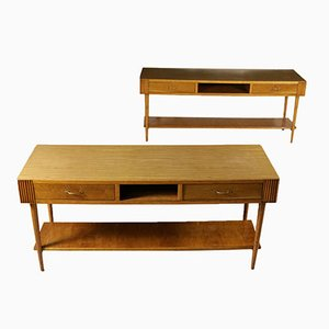 Italian Durmast & Formica Worktables, 1950s, Set of 2