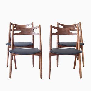 CH29 Sawbuck Chairs by Hans J. Wegner for Carl Hansen & Son, 1950s, Set of 4