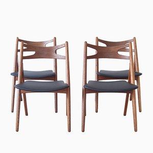 CH29 Sawbuck Chairs von Hans J. Wegner für Carl Hansen & Son, 1950er, 4er Set