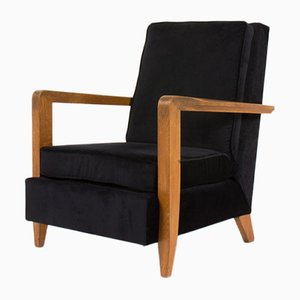 French Oak & Black Velvet Lounge Chair, 1950s
