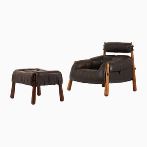Mid-Century Armchair & Footrest by Percival Lafer