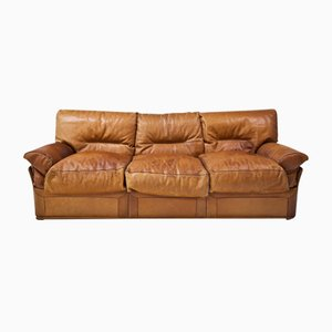 Vintage 3 Seater Sofa In Brown Leather For Sale At Pamono