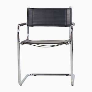 Silla Cantilever de metal cromado con asiento de cuero sintético, años 70