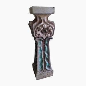 Antique Art Nouveau Sandstone Bolster Column