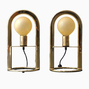 Large Postmodern Golden Metal Table Lamps, 1980s, Set of 2